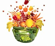Fruit and vegetables on white background